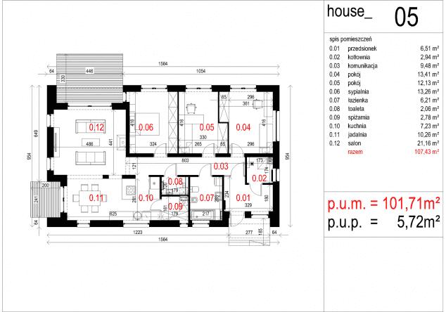 Rzut projektu House 05 - Rzut parteru
