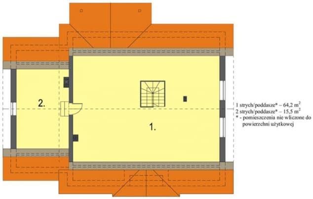 Rzut projektu Groszek z garażem dach dwuspadowy opał stały - Rzut poddasza