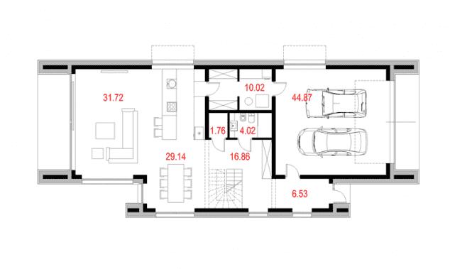 Rzut projektu House x06 - Rzut parteru
