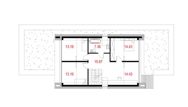 Rzut projektu House x06 - Rzut poddasza