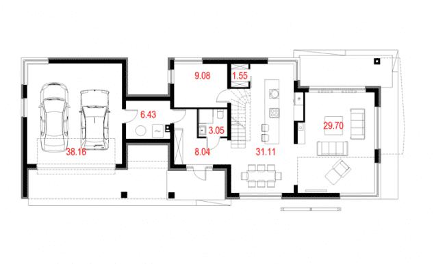 Rzut projektu House 10.1 - Rzut parteru