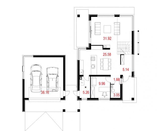 Rzut projektu House 10.2 - Rzut parteru