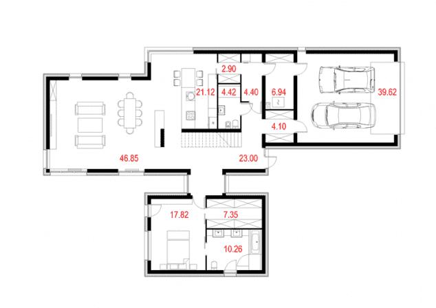Rzut projektu House x03 - Rzut parteru