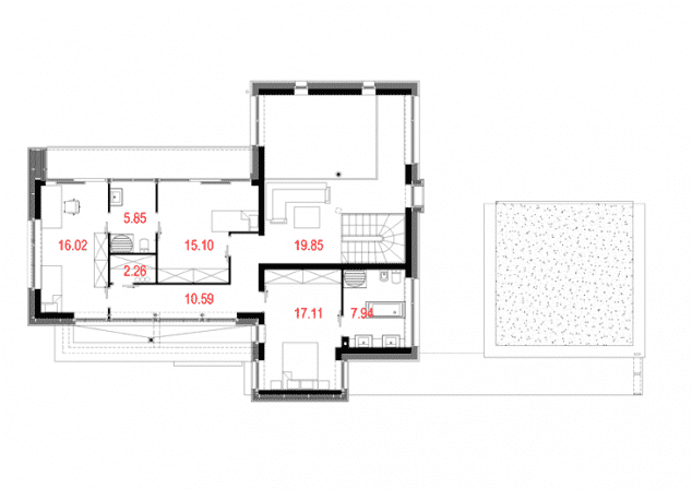 Rzut projektu House x02 - Rzut piętra