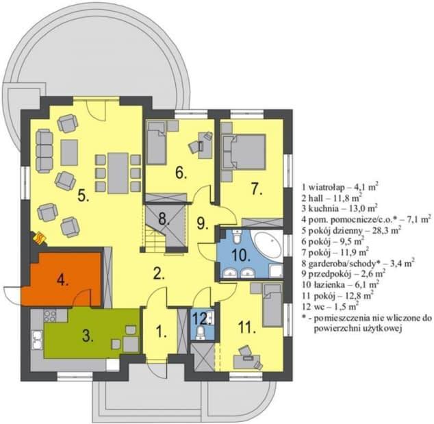 Rzut projektu Groszek dach dwuspadowy - Rzut parteru