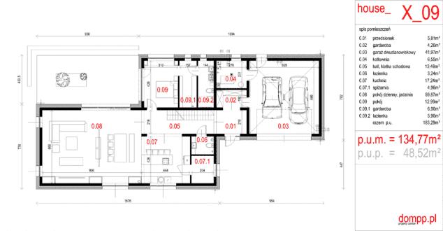 Rzut projektu House x09 - Rzut parteru