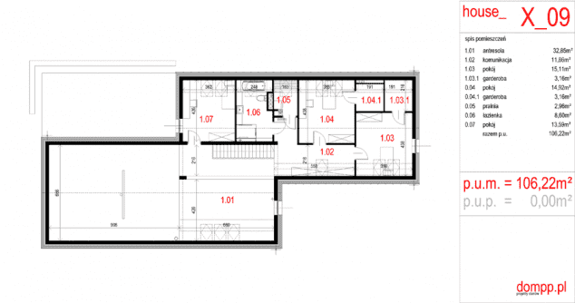 Rzut projektu House x09 - Rzut piętra