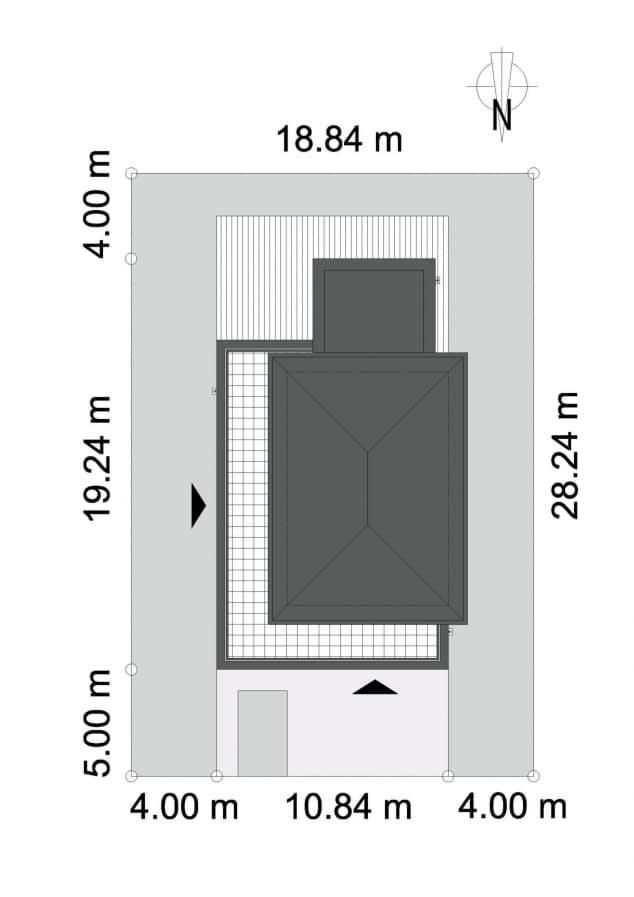 Rzut projektu AŻUROWY D38 - Orientacja na działce