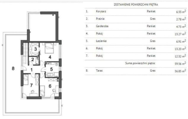 Rzut projektu AŻUROWY D38 - Piętro