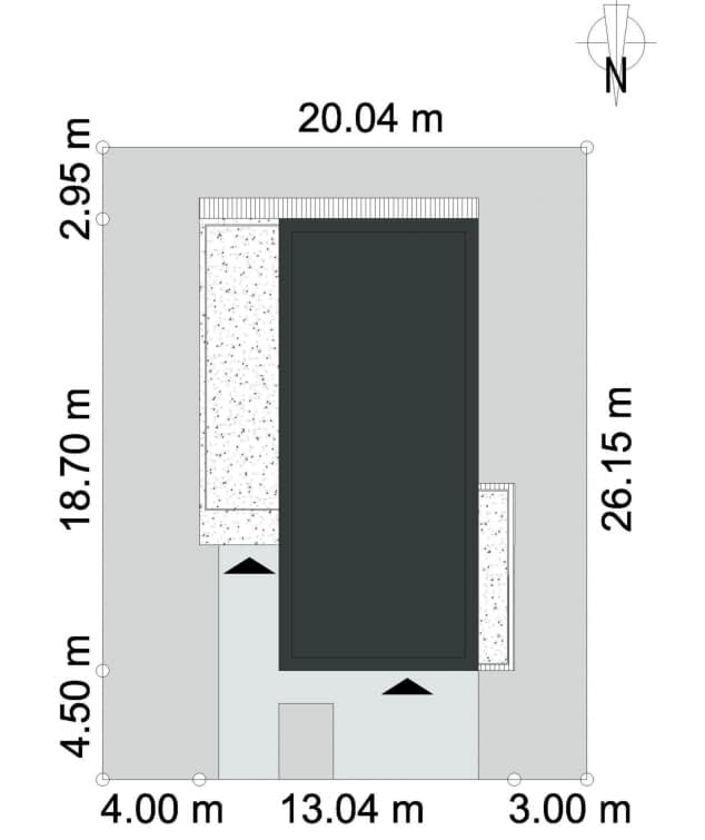 Rzut projektu PRZESTRONNY D40 - Działka