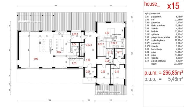 Rzut projektu House x15 - Rzut parteru