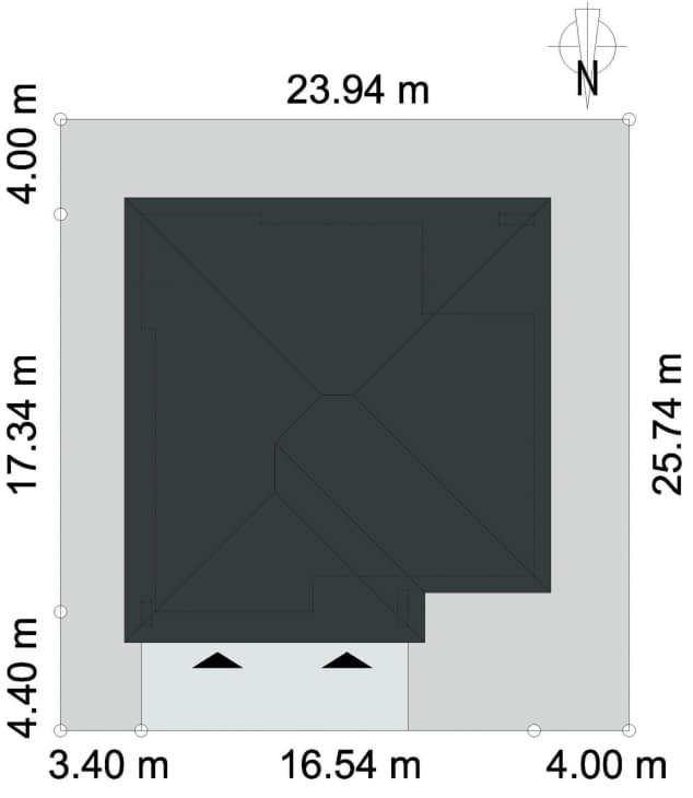 Rzut projektu DOSTĘPNY D45 - Rzut na działce