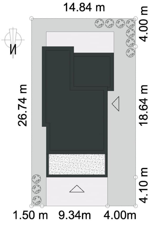 Rzut projektu WYRAZISTY D46 - Rzut na działce