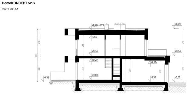 Rzut projektu HomeKONCEPT-52 S - Przekrój