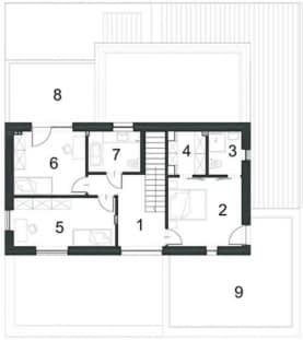 Rzut projektu ALTERNATYWNY D35 - Piętro