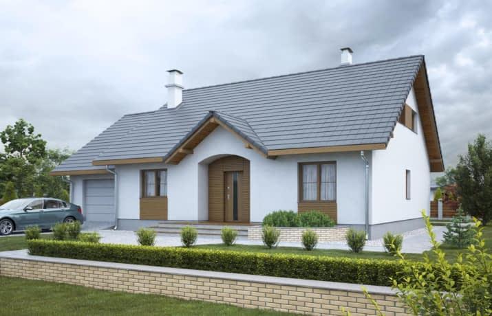 Groszek z garażem dach dwuspadowy opał stały - wizualizacja 2